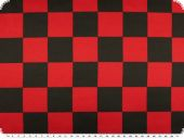 Polyester satin, chessboard pattern, black-red, ca. 150cm