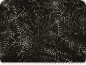 Spiderweb, silver on black, 140cm