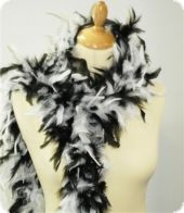Feather boa, decorative feathers, black-white, 180cm