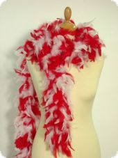 Feather boa, red-white, ca. 190cm, fine feather seal