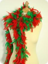 Feather boa, green-red, ca. 190cm, fine feather seal
