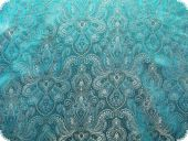 Jacquard paisley with lurex, turquoise, ca. 140cm
