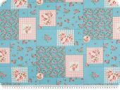 Nice cotton print, patch, flowers-hearts, light blue, 140cm
