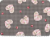 Cotton print,  flowers-hearts, checked, black and white,