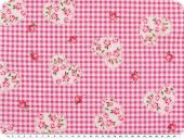 Cotton print, flowers-hearts, checked, pink-white,