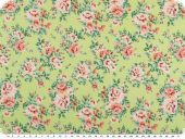 Nice cotton print, roses, light green, 142-145cm