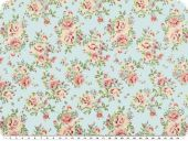 Nice cotton print, roses, pastel turquoise, 142-145cm