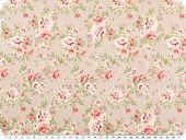 Nice cotton print, roses, pastel brown, 142-145cm