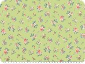 Nice cotton print,  small flowers, light green, 142-145cm