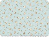 Nice cotton print, small flowers, pastelturquoise, 142-145cm