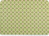 Cotton print, flowers-geometry, light green, 142-145cm