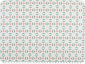 Cotton print, flowers-geometry, pastelturquoise, 142-145cm