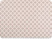 Cotton print, flowers-geometry, pastel brown, 142-145cm