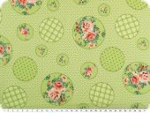 Nice cotton print, flowers and dots,light green, 142-145cm