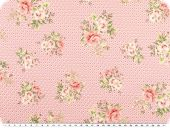 Nice cotton print, roses-dots, pink, 142-145cm