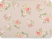 Nice cotton print, roses-dots, pastel brown, 142-145cm