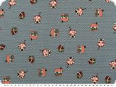 Nice cotton print,  dots and huts, blue grey, 142-145cm