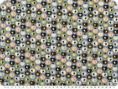 Nice cotton print, hearts-apples, blue-grey, 142-145cm