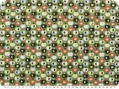 Nice cotton print, hearts-apples, ferngreen, 142-145cm