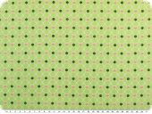 Cotton poplin, hearts and flowers, light green, 142-145cm