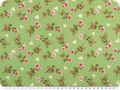 Cotton poplin, roses, light green, 142-145cm