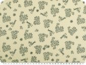 Cotton print with dots, birds and flowers, ecru, 140cm