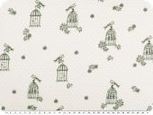 Cotton print with dots, bird and cage, light grey, 140-145cm