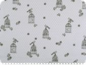 Cotton print with dots,  bird and cage, light blue, 140cm