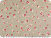 Cotton poplin, flowers, beige-red, 140cm