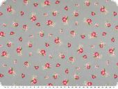 Cotton poplin, flowers, light grey-red, 140cm