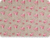 Cotton poplin, medium sized flowers, beige-red, 140cm