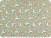 Cotton poplin, medium sized flowers, beige-turquoise, 140cm