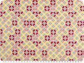 Cotton poplin, flowers-circles, red-yellow-nude, 142cm