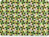 Cotton poplin, triangles, green-yellow-brown, 142cm