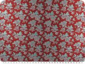 Floral jacquard fabric, flowers, red-turquoise, 160cm