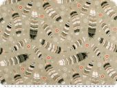 Nice cotton print, feathers, beige, 142-145cm
