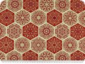 Nice deco print, honeycomb pattern, ecru-orange-red, 140cm