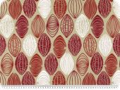 Nice deco print, ovals, ecru-orange-bordeaux, 140cm
