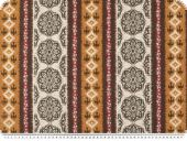 Deco fabric, vertical african pattern, brown-yellow, 140cm