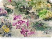 Deco fabric, flowers digital print, pastel colours, 140cm