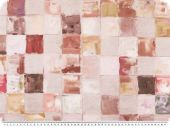 Deco fabric, painted squares, ecru-beige-brown, 140cm