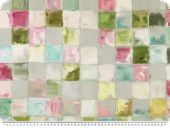 Deco fabric, painted squares, turquoise-yellow-pink, 140cm