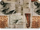 Decoration fabric, african animals, ecru-multicolour, 140cm