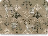 Decoration fabric, dig. print, african theme, brown, 140cm
