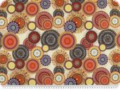 Digital deco fabric, half panama, circles and ornament s
