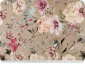 Digitak deco fabric, flowers, beige-multicolour, 140cm