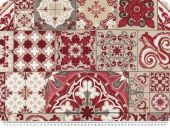 Deco fabric, tiles and ornaments,  beige-red, 140cm