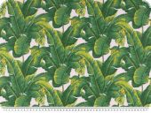 Deco fabric, flower print, white-green, 140cm