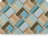 Deco fabric, patch, turquoise-brown, 140cm