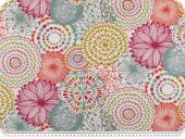 Deco fabric, flower print, multicolour, 140cm